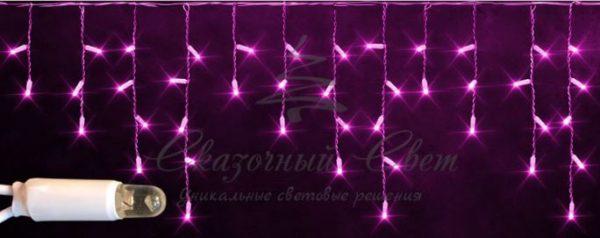 Светодиодная бахрома Rich LED 3х0.5 м мерцающая, IP65, герметичный колпачок, белый провод, Розовая