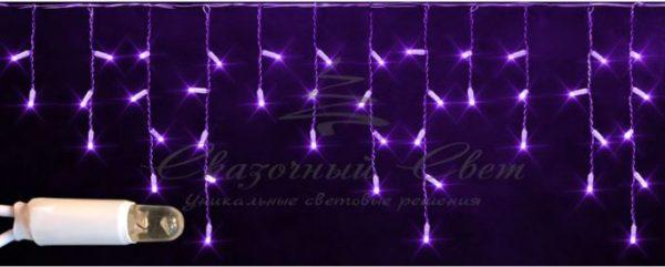 Светодиодная бахрома Rich LED 3х0.5 м мерцающая, IP65, герметичный колпачок, белый провод, Фиолетовая