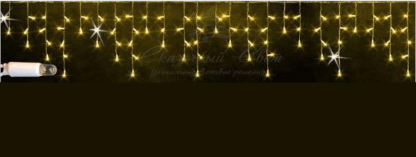 Светодиодная бахрома Rich LED 3х0.5 м, МЕРЦАЮЩАЯ, белый резиновый провод, IP65, герметичный колпачок, Желтая