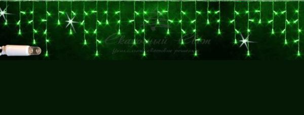 Светодиодная бахрома Rich LED 3х0.5 м, МЕРЦАЮЩАЯ, белый резиновый провод, IP65, герметичный колпачок, Зеленая