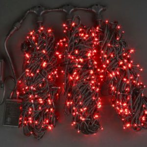 Светодиодная гирлянда Rich LED 3 Нити по 20 м мерцающая, Красная, черный провод