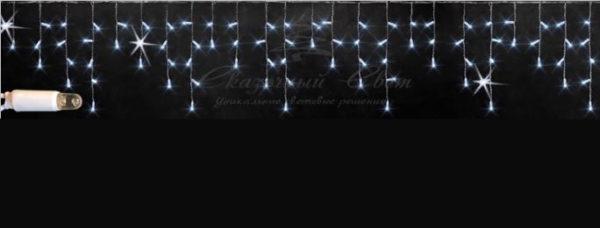 Светодиодная бахрома Rich LED 3х0.5 м, МЕРЦАЮЩАЯ, белый резиновый провод, IP65, герметичный колпачок, Белая