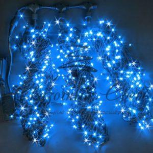 Светодиодная гирлянда Rich LED 3 Нити по 20 м мерцающая, Синяя, черный провод