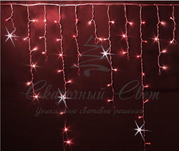 Светодиодная бахрома Rich LED 3x0.9 м МЕРЦАЮЩАЯ прозрачный провод, Красная