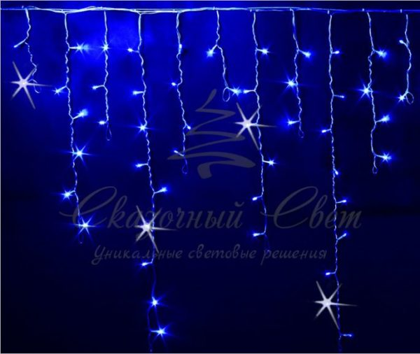 Светодиодная бахрома Rich LED 3x0.9 м МЕРЦАЮЩАЯ прозрачный провод, Синяя