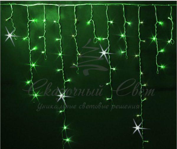 Светодиодная бахрома Rich LED 3x0.9 м МЕРЦАЮЩАЯ прозрачный провод, Зеленая