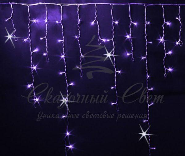 Светодиодная бахрома Rich LED 3x0.9 м МЕРЦАЮЩАЯ прозрачный провод, Фиолетовая
