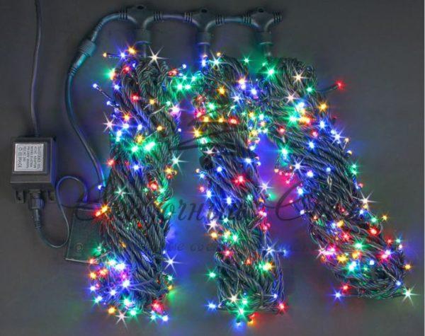 Светодиодная гирлянда Rich LED 3 Нити по 20 м мерцающая, Мульти, черный провод