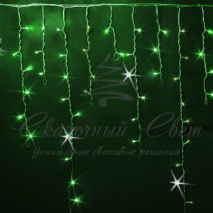 Светодиодная бахрома Rich LED 3×0.9 м МЕРЦАЮЩАЯ, черный провод, Зеленая