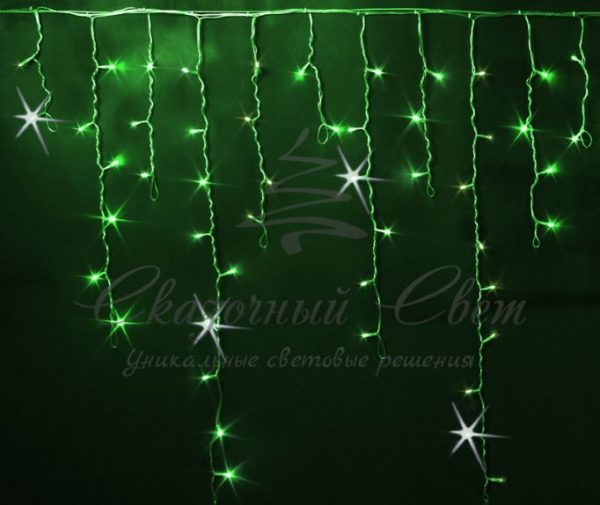 Светодиодная бахрома Rich LED 3x0.9 м МЕРЦАЮЩАЯ, черный провод, Зеленая