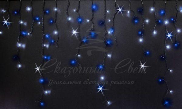 Светодиодная бахрома Rich LED 3x0.9 м МЕРЦАЮЩАЯ, черный провод, Сине-белая