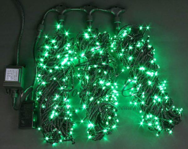 Светодиодная гирлянда Rich LED 3 Нити по 20 м мерцающая, Зеленая, черный провод