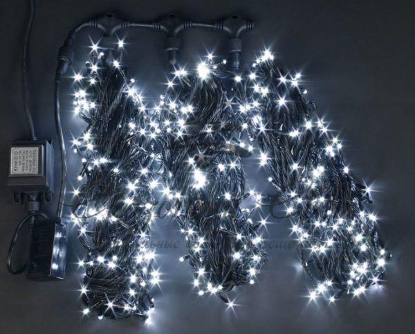 Светодиодная гирлянда Rich LED 3 Нити по 20 м мерцающая, Белая, черный провод