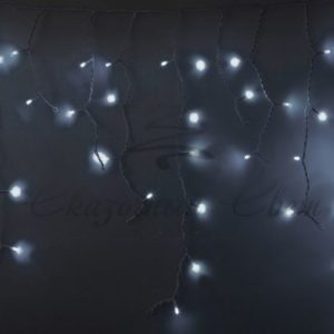 Гирлянда Айсикл (бахрома) светодиодный, 5,6 х 0,9 м, с эффектом мерцания, БЕЛЫЙ провод «КАУЧУК», 230 В, диоды БЕЛЫЕ, 240 LED NEON-NIGHT