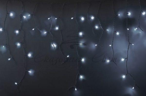 """Гирлянда Айсикл (бахрома) светодиодный, 5,6 х 0,9 м, с эффектом мерцания, БЕЛЫЙ провод """"КАУЧУК"""", 230 В, диоды БЕЛЫЕ, 240 LED NEON-NIGHT"""
