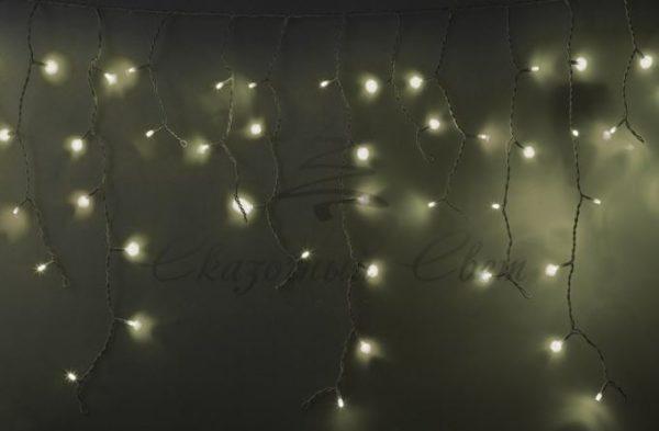 """Гирлянда Айсикл (бахрома) светодиодный, 5,6 х 0,9 м, с эффектом мерцания, БЕЛЫЙ провод """"КАУЧУК"""", 230 В, диоды ТЕПЛО-БЕЛЫЕ, 240 LED NEON-NIGHT"""