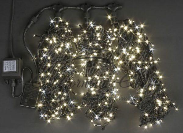 Светодиодная гирлянда Rich LED 3 Нити по 20 м мерцающая, Тепло-белая, черный провод