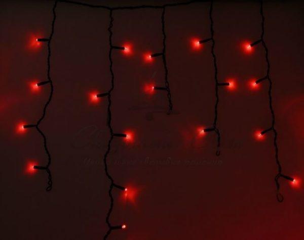 Гирлянда Айсикл (бахрома) светодиодный, 2,4 х 0,6 м, черный провод, 230 В, диоды красные, 88 LED NEON-NIGHT