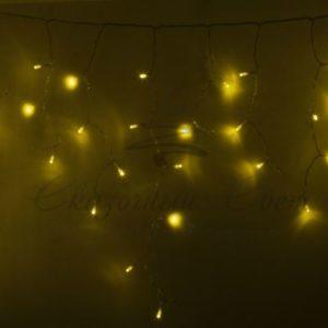 Гирлянда Айсикл (бахрома) светодиодный, 2,4 х 0,6 м, прозрачный провод, 230 В, диоды жёлтые, 88 LED NEON-NIGHT