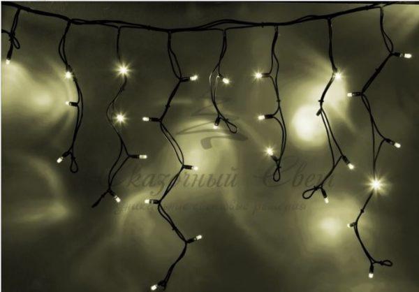 """Гирлянда Айсикл (бахрома) светодиодный, 5,6 х 0,9 м, черный провод """"КАУЧУК"""", 230 В, диоды тепло-белые, 240 LED NEON-NIGHT"""