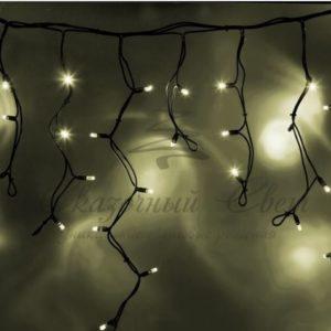 Гирлянда Айсикл (бахрома) светодиодный, 5,6 х 0,9 м, с эффектом мерцания,черный провод «КАУЧУК», 230 В, диоды тепло-белые, 240 LED NEON-NIGHT