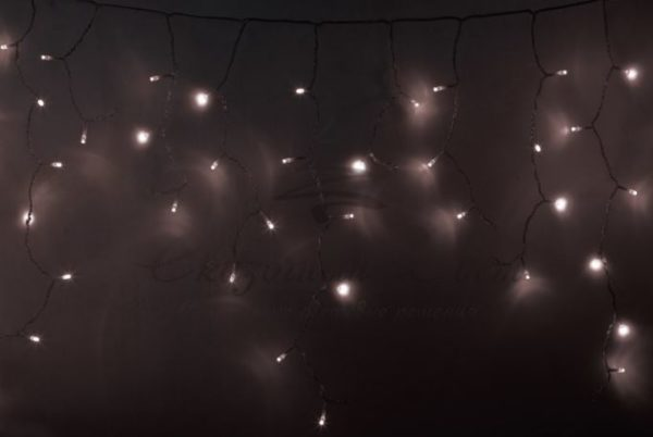 Гирлянда Айсикл (бахрома) светодиодный, 4,8 х 0,6 м, прозрачный провод, диоды ТЕПЛО-БЕЛЫЕ,  176 LED