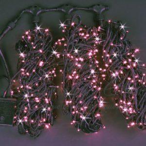 Светодиодная гирлянда Rich LED 3 Нити по 20 м мерцающая, Розовая, черный провод