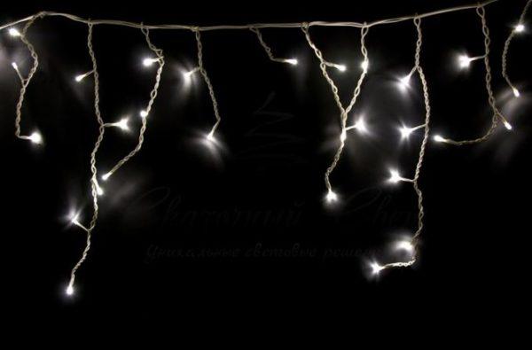 Гирлянда Айсикл (бахрома) светодиодная, 1,8 х 0,5 м, прозрачный провод, 230 В, диоды тепло-белые