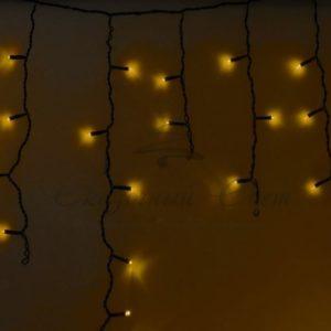 Гирлянда Айсикл (бахрома) светодиодный, 4,8 х 0,6 м, черный провод, 230 В, диоды желтые, 176 LED NEON-NIGHT