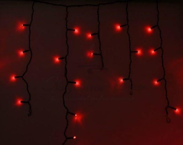 Гирлянда Айсикл (бахрома) светодиодный, 4,8 х 0,6 м, черный провод, 230 В, диоды красные,  176 LED NEON-NIGHT