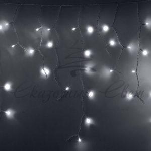 Гирлянда Айсикл (бахрома) светодиодный, 2,4х0,6м, белый провод, 230В, диоды белые