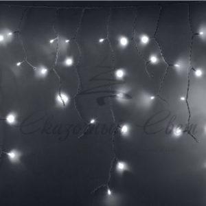 Гирлянда Айсикл (бахрома) светодиодный, 2,4 х 0,6 м, белый провод, 230 В, диоды белые, 76 LED
