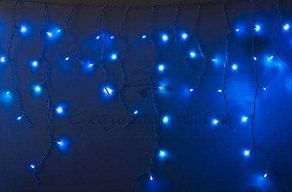 Гирлянда Айсикл (бахрома) светодиодный, 2,4х0,6м, эффект мерцания, белый провод, 230 В, диоды СИНИЕ, 88 LED NEON-NIGHT