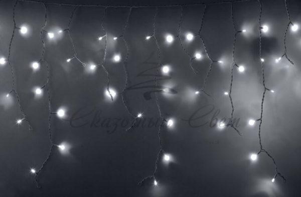 Гирлянда Айсикл (бахрома) светодиодный, 2,4х0,6м, эффект мерцания, белый провод, 230 В, диоды БЕЛЫЕ, 88 LED NEON-NIGHT