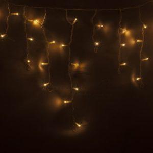 Гирлянда Айсикл (бахрома) светодиодный, 2,4 х 0,6 м, белый провод, 230 В, диоды тепло-белые, 76 LED