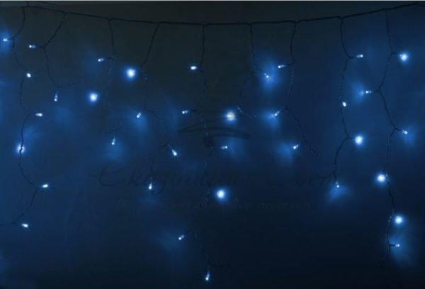 Гирлянда Айсикл (бахрома) светодиодный, 4,8 х 0,6 м, прозрачный провод, 230 В, диоды синие,  176 LED NEON-NIGHT