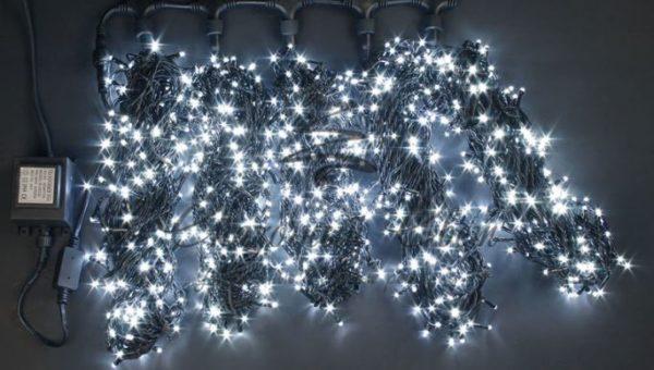 Светодиодная гирлянда Rich LED 5 Нитей по 20 м, Белая, черный провод