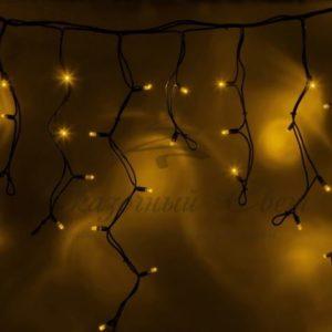 Гирлянда Айсикл (бахрома) светодиодный, 5,6 х 0,9 м, черный провод «КАУЧУК», 230 В, диоды желтые, 240 LED NEON-NIGHT