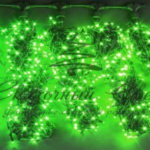 Светодиодная гирлянда Rich LED 5 Нитей по 20 м, Зеленая, черный провод