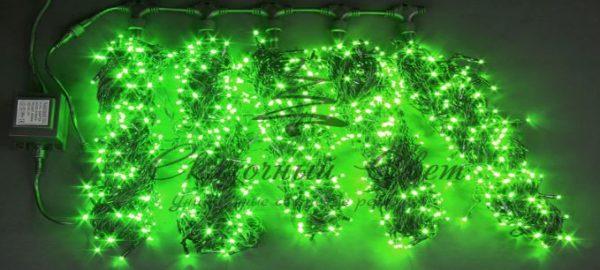 Светодиодная гирлянда Rich LED 5 Нитей по 20 м, Зеленая, черный провод 1