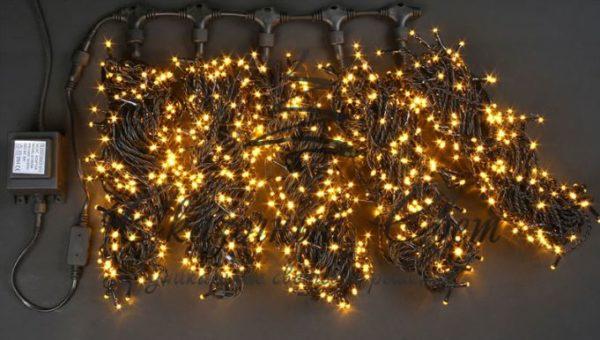 Светодиодная гирлянда Rich LED 5 Нитей по 20 м, Желтая, черный провод