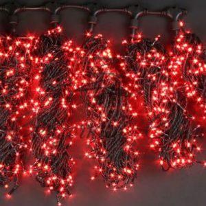 Светодиодная гирлянда Rich LED 5 Нитей по 20 м, Красная, черный провод