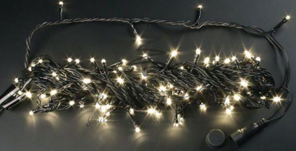 Светодиодная гирлянда Rich LED Нить 10 м, 24В, постоянного свечения, соединяемая, черный провод, Тепло-белая 1