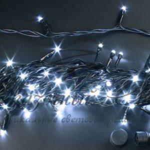 Светодиодная гирлянда Rich LED Нить 10 м, 24В, постоянного свечения, соединяемая, черный провод, Белая