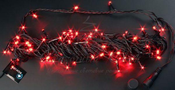 Светодиодная гирлянда Rich LED Нить 10 м, 24В, постоянного свечения, соединяемая, черный провод, Красная