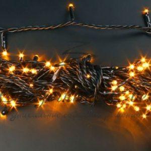 Светодиодная гирлянда Rich LED Нить 10 м, 24В, постоянного свечения, соединяемая, черный провод, Желтая