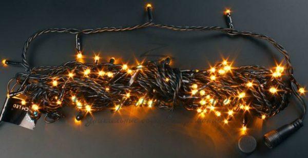 Светодиодная гирлянда Rich LED Нить 10 м, 24В, постоянного свечения, соединяемая, черный провод, Желтая 2