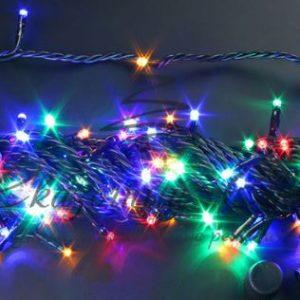 Светодиодная гирлянда Rich LED Нить 10 м, 24В, постоянного свечения, соединяемая, черный провод, Мульти