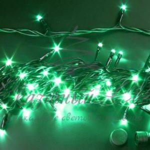 Светодиодная гирлянда Rich LED Нить 10 м, 24В, постоянного свечения, соединяемая, черный провод, Зеленая