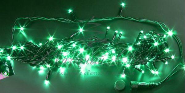 Светодиодная гирлянда Rich LED Нить 10 м, 24В, постоянного свечения, соединяемая, черный провод, Зеленая 2